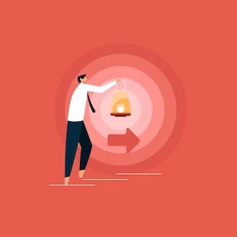Empresário com lâmpada caminhando para iluminar seu caminho, encontrando o caminho correto