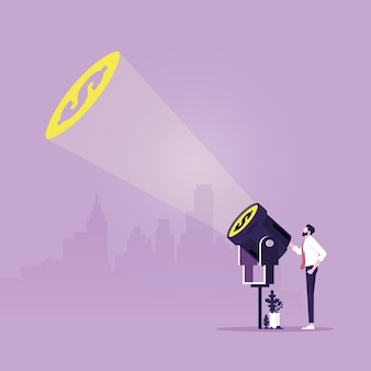 Empresário com lanterna e cifrão. ajuda financeira para manter os negócios, crise financeira