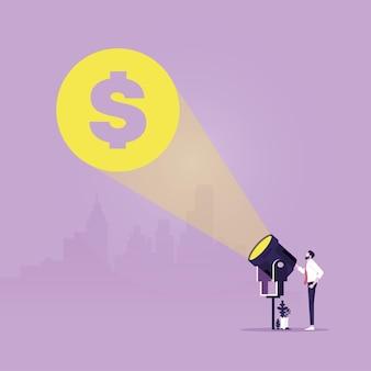 Empresário com lanterna e cifrão símbolo de lucro bancário em dinheiro