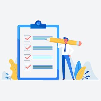 Empresário com lápis e ilustração de lista de verificação