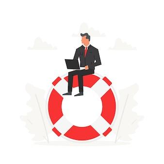 Empresário com laptop sentado em uma grande bóia salva-vidas companhias de seguros e assistência comercial