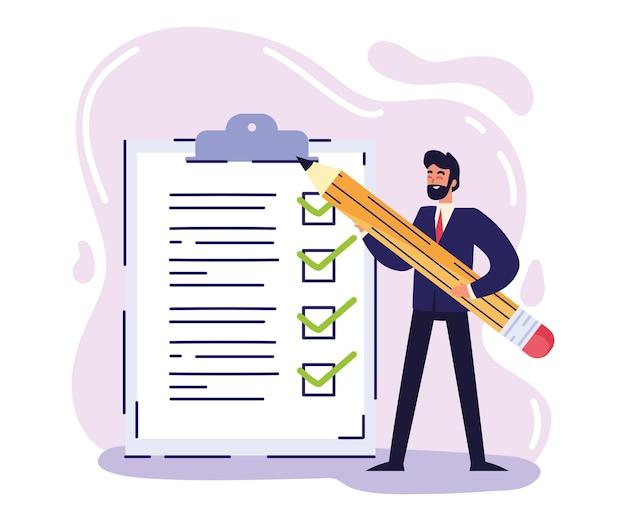 Empresário com lista de verificação