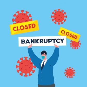 Empresário com máscara e banner de falência estreita