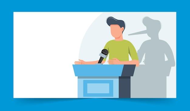 Empresário com nariz comprido sombra na parede orador falando da tribuna fraude fraude fraude fraude e crime orador público mentiroso pessoas em negócios ilustração em vetor plana