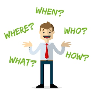 Empresário com perguntas