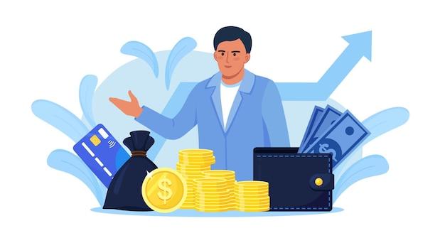 Empresário com pilha de dinheiro, bolsa de dinheiro e carteira. consultor financeiro, banqueiro que oferece empréstimo. investidor ou empreendedor de sucesso obtendo renda. consultoria financeira, investimento, poupança, lucro