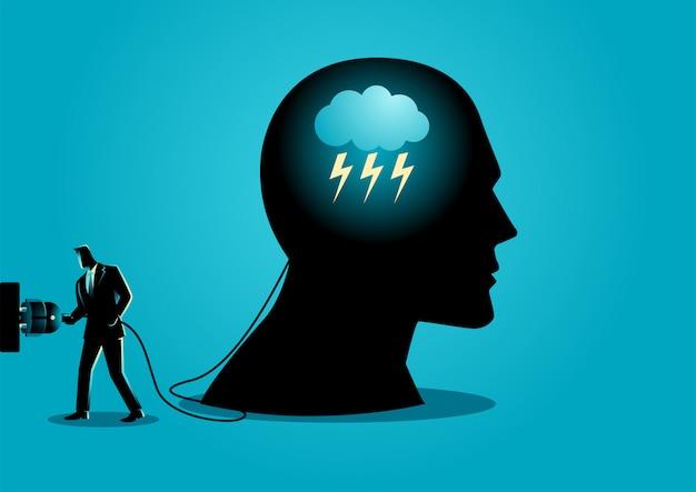 Empresário com plugue elétrico e cabeça humana