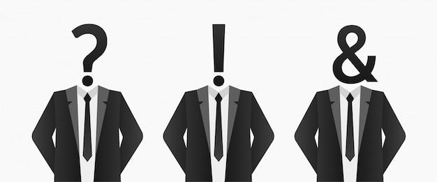 Empresário com ponto de interrogação, ponto de exclamação, e comercial em vez de fundo da cabeça