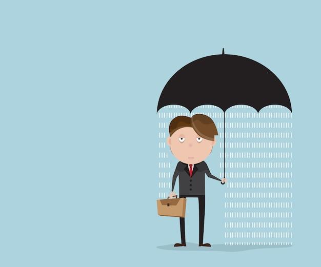 Empresário com rainyday sob o guarda-chuva