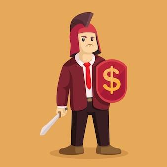 Empresário com roupa de guerreiro, segurando a espada e escudo de ilustração vetorial