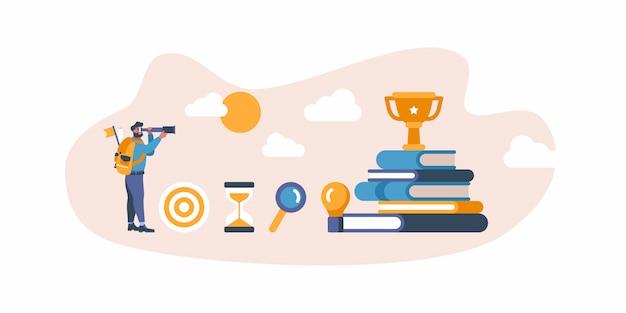 Empresário com saco com alvo está olhando para o objetivo de negócio. ilustração design plano - como atingir objetivos com decisão inteligente