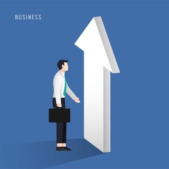 Empresário com símbolo de sucesso de seta. ilustração de ideia de negócio