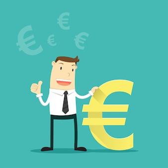 Empresário com sinal de moeda do euro.