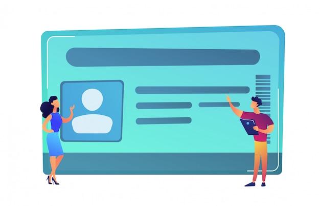 Empresário com tablet e mulher apontando para ilustração vetorial de cartão de identificação. Vetor Premium
