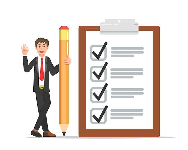 Empresário com uma grande lista de verificação