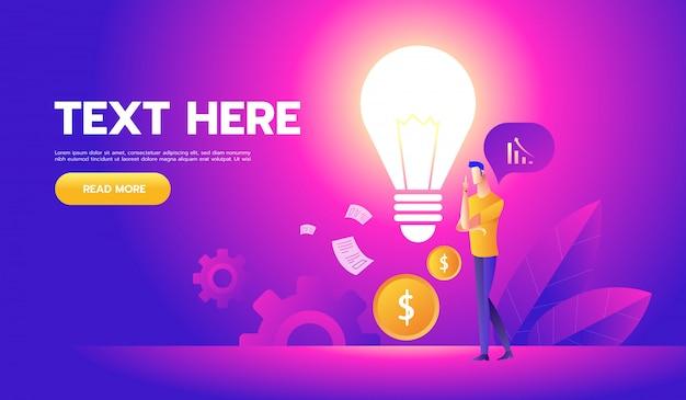 Empresário com uma lâmpada oferece novas idéias