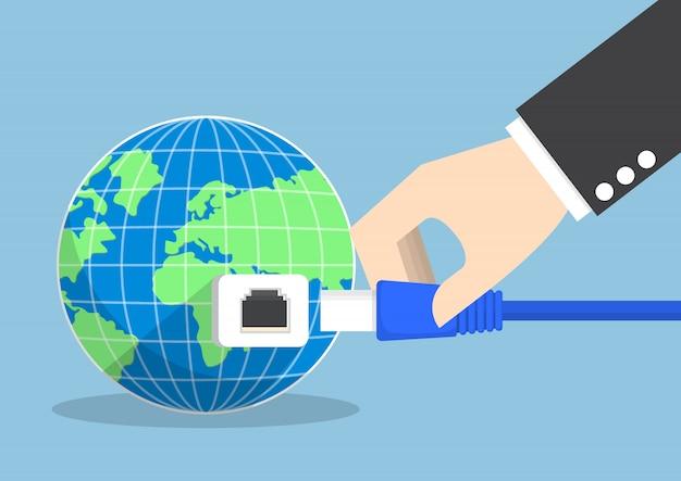 Empresário, conectando o plugue ao mundo