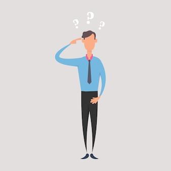 Empresário confuso e perguntas.