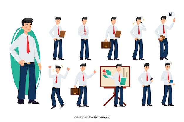 Empresário conjunto com diferentes posturas