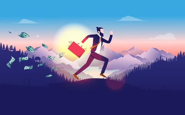 Empresário correndo ao ar livre com uma pasta cheia de dinheiro