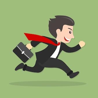 Empresário correndo, atrasado para o trabalho