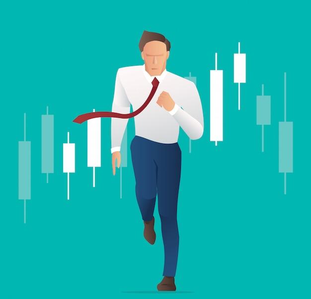 Empresário, correndo com fundo de gráfico de castiçal