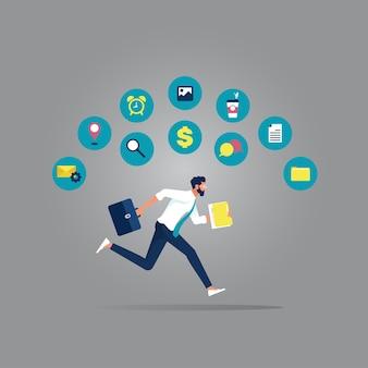 Empresário correndo com pressa para trabalhar até tarde com ícones de processos de negócios, gerenciamento de tempo