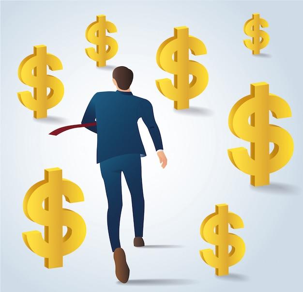 Empresário correndo com vetor de moedas de dólar de ouro