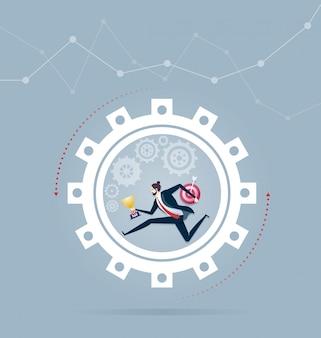 Empresário correndo dentro da roda. ilustração em vetor negócios conceito