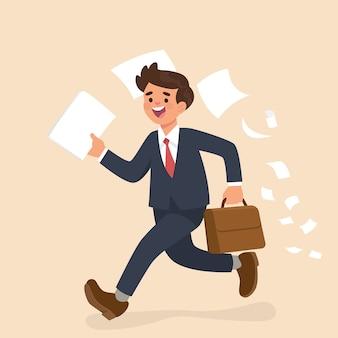Empresário correndo e segurando o papel