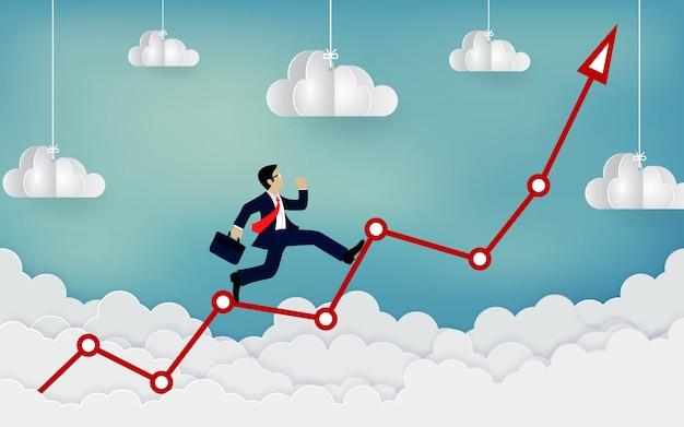 Empresário correndo em uma flecha até o céu
