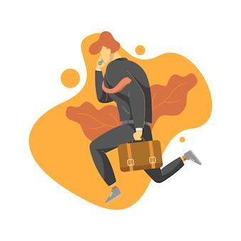 Empresário correndo enquanto segura a bolsa e o telefone