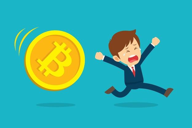 Empresário correndo está triste com a queda do preço do bitcoin