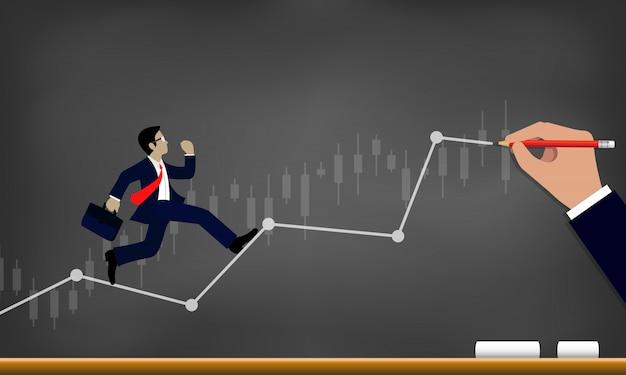 Empresário, correndo na linha do gráfico para o objetivo de alcançar o sucesso de desenho sobre fundo de quadro-negro
