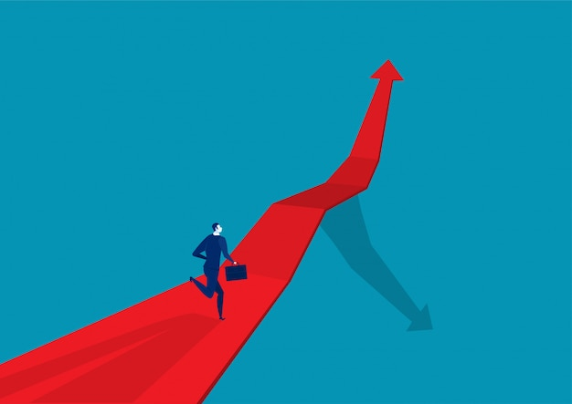Empresário correndo na seta vermelha
