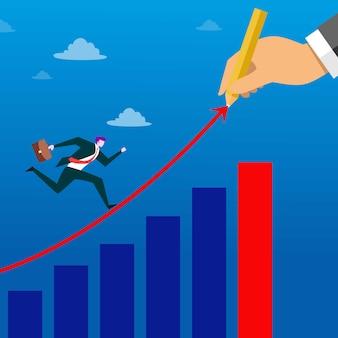 Empresário correndo no gráfico de seta. ilustração do conceito de negócio.