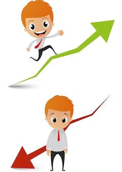 Empresário correndo no gráfico gráfico