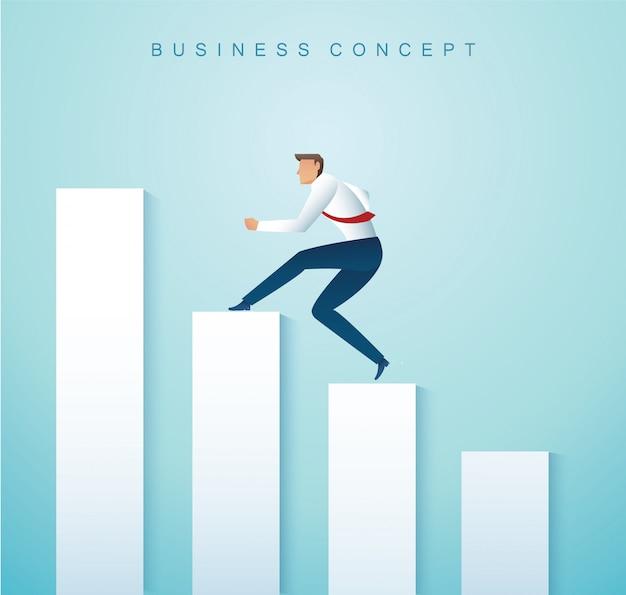 Empresário correndo no gráfico