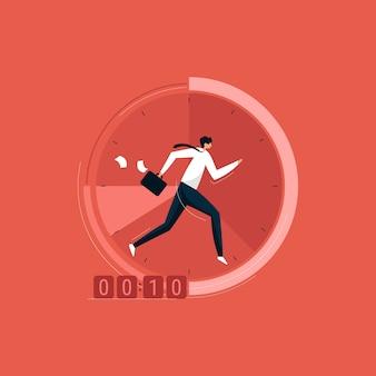 Empresário correndo no relógio com pasta, gerenciamento de tempo