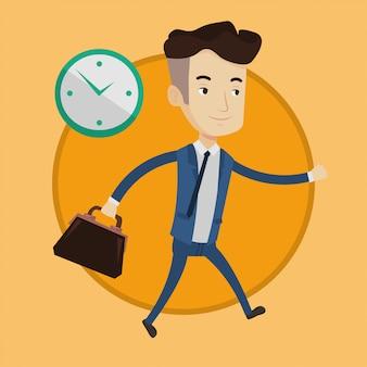Empresário correndo no relógio.