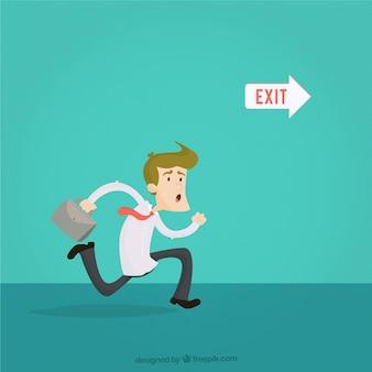 Empresário correndo para a saída
