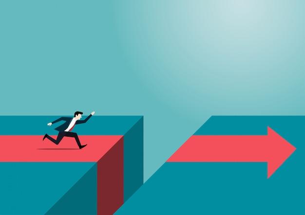 Empresário correndo para atravessar grande lacuna