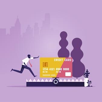 Empresário correndo para cartão de crédito de crédito na armadilha crédito finanças armadilha bancária empréstimo de crédito