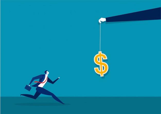 Empresário correndo para pegar um dólar colocado em um gancho