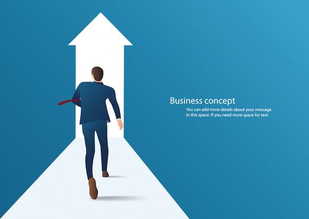 Empresário correndo para ter sucesso em um vetor de carreira