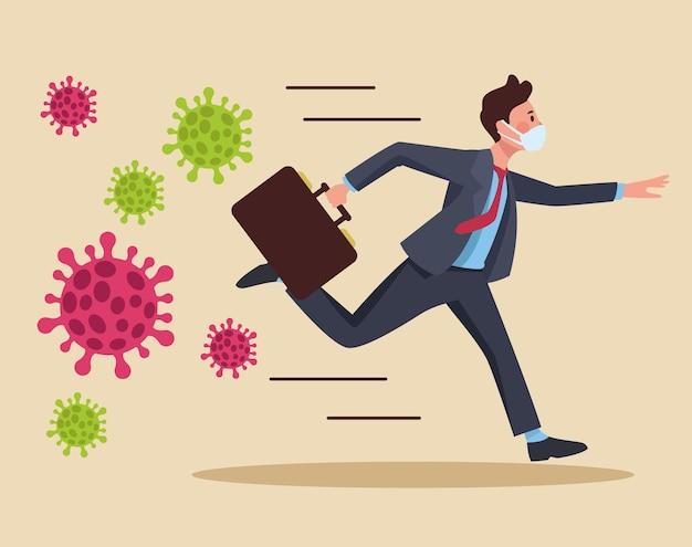 Empresário correndo usando máscara médica ilustração de personagem