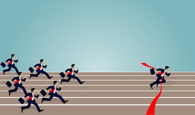 Empresário corrida corrida para a linha de chegada vermelha