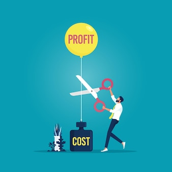 Empresário cortando balão de lucros e peso de custos com tesoura