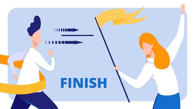 Empresário crossing finish line, menina com bandeira.