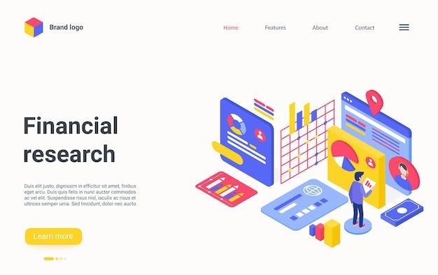 Empresário da página de destino isométrica de pesquisa financeira analisando dados para investimento